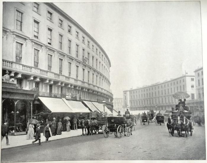 Before being rebuilt in the 1920s - the original Nash era Regent Street in the 1890s