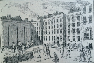 Fleet Prison in 1830 - note the racket court